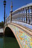 Ceramic bridge in Plaza de Espana in Seville, Andalusia, Spain. Old landmark Stock Image