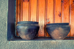 Ceramic brown handmade rustic pots Stock Photography