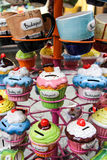 Ceramic Budapest cupcake piggy banks and mugs Royalty Free Stock Photos