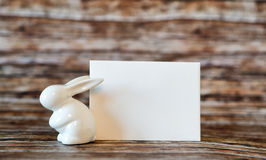 Ceramic Bunny Rabbit with Blank Greeting Card Royalty Free Stock Photos