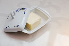 Ceramic butter dish with lavender spica picture Stock Image