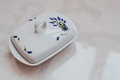Ceramic butter dish with lavender spica picture Royalty Free Stock Photos