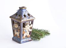 Ceramic candle holder snowman Stock Images