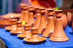 Ceramic candle holders Royalty Free Stock Photos