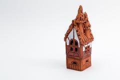 Ceramic caste. Ceramic castle. Small brown statuette Royalty Free Stock Photo