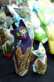Ceramic Cat Decorations. Different sized ceramic cat decorations Royalty Free Stock Photos