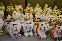 Ceramic cats. Decorative ceramic cats,  decorative and ornamental objects, work of art, toy Stock Photography