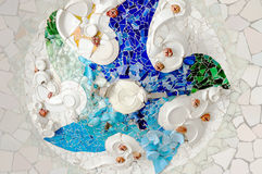 Ceramic ceiling art in Park Guell Barcelona Spain Stock Photography