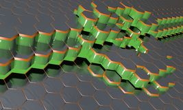 Hexagonal waves electromagnetic, 3d. Render Royalty Free Stock Photography