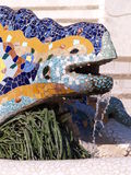 Ceramic Chameleon. Closeup of a colorful mosaic chameleon fountain, designed by Antoni Gaudi in Park Guell, Barcelona, Spain Stock Photo