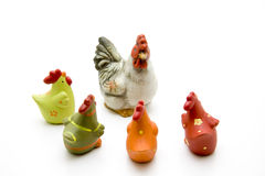 Ceramic chicken. Colored ceramic chickens to the decoration royalty free stock images
