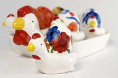 Ceramic Chicken and Eggs Royalty Free Stock Photography