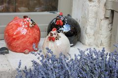 Ceramic chickens Stock Photos