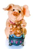 Ceramic chinese new year pig gift. With hieroglyphs of 'Happy New Year royalty free stock images