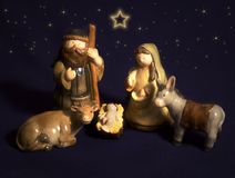 Christmas nativity scene. In ceramic figures royalty free stock photography