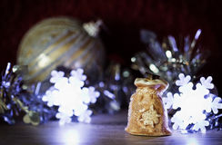 Ceramic Christmas bag. Ceramic bag with gifts. Christmas decorations. Selective focus Royalty Free Stock Images