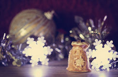 Ceramic Christmas bag. Ceramic bag with gifts. Christmas decorations. Selective focus. Toned image Royalty Free Stock Image