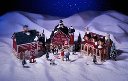 Ceramic Christmas houses set royalty free stock photography