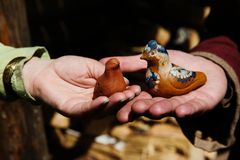 Clay toys whistle. Ceramic clay toys in handmade, Russian style royalty free stock image