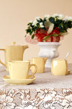 Ceramic coffee set on a table Stock Images
