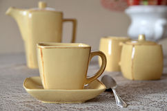 Ceramic coffee set on a table Stock Image