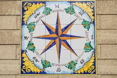 Ceramic compass rose indicating the cardinal points and the dire stock photo