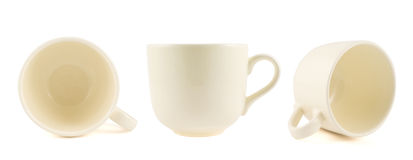 Ceramic cream colored cup isolated Royalty Free Stock Photos