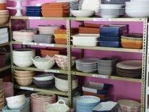 Ceramic crockery display Royalty Free Stock Image