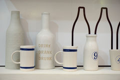 Ceramic cup and bottle Stock Image