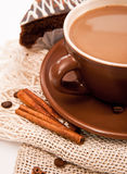 Ceramic cup of coffee with cinnamon Stock Image
