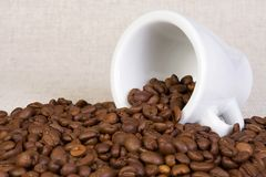 Ceramic cup coffee and fabric Stock Image