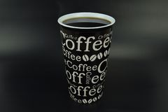 Ceramic cup with coffee written Full stock photography