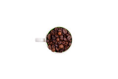 Free Ceramic Cup Filled With Coffee Beans, Top View Royalty Free Stock Image - 81326216