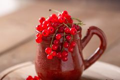 Ceramic cup with fresh red currant on a wooden background Rustic style royalty free stock images