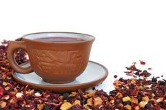 Ceramic cup of herbal tea stock photo