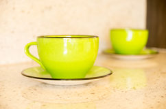 Ceramic cup plate Stock Photo