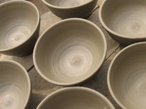 Ceramic cups. Drying in the sun, before going to the owen Stock Photos