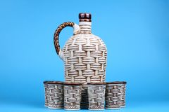 Ceramic decanter and glass Royalty Free Stock Image