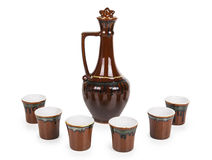 Ceramic decanter with glasses Royalty Free Stock Photography