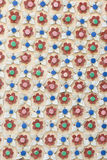 Ceramic decor flower. Have colour red, green, blue, pink and white at temple wat pho Thailand Royalty Free Stock Photo
