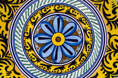 Ceramic decoration. Detail of a typical colorful decoration of a ceramic plate of Deruta - Umbria, Italy royalty free stock photography