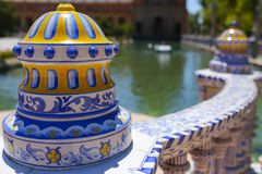 Ceramic decoration at Plaza de Espana, Seville, Spain royalty free stock photos