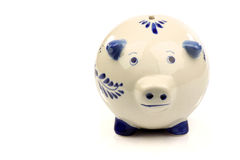 Ceramic Delft  blue and white piggy bank Royalty Free Stock Photos
