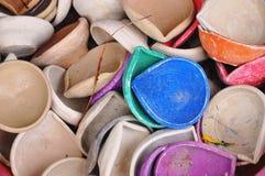 Ceramic dish. Colourful ceramic dish, indian oil lamp Royalty Free Stock Images
