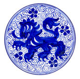 Ceramic Dish Blue. Ceramic plate hand painted blue. Isolated Royalty Free Stock Images