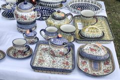Ceramic dishes displayed, breakfast sets royalty free stock photo