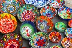 Ceramic dishes set colorful flower print, store Jerusalem, Israel stock photos