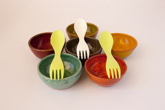 Ceramic Dishes with Sporks Stock Images