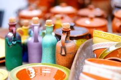 Ceramic dishes, tableware and jugs sold on Easter market in Vilnius Royalty Free Stock Photos