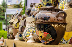 Ceramic dishes tableware and jugs sold in market et in Kiev Royalty Free Stock Image
